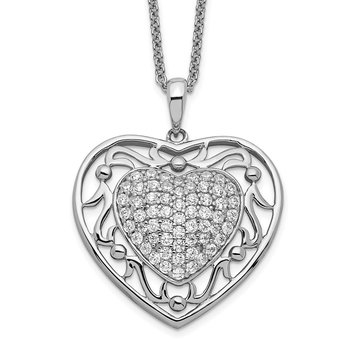 Sterling Silver Antiqued CZ To My Granddaughter 18in Heart Necklace
