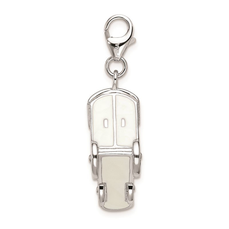 Quality Gold Sterling Silver Rhodium-plated Lobster Clasp 3-D Enameled Train Charm