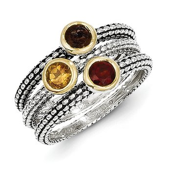 Sterling Silver w/ Flash GP Garnet/Citrine/Smoky Quartz 3 Stackable Rings