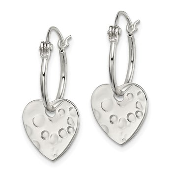 Sterling Silver Polished & Hammered Heart Dangle Hoop Earrings