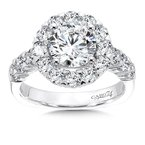 Diamond Halo Engagement Ring in 14K White Gold with Platinum Head (1-1/2 ct.)
