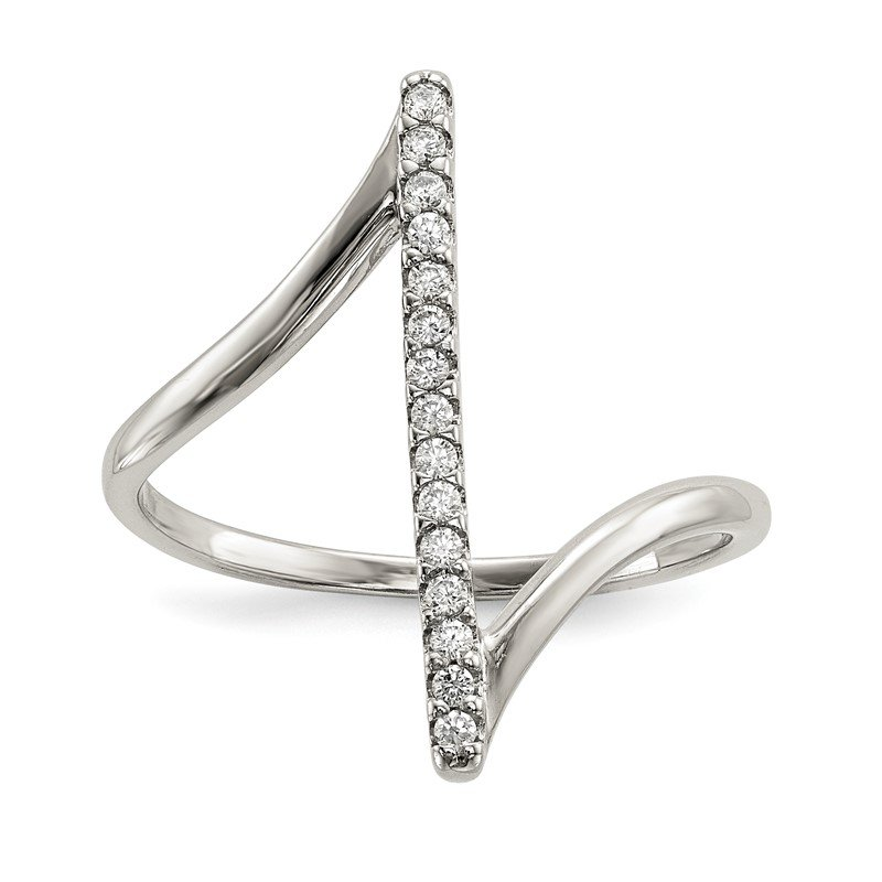 Quality Gold Sterling Silver CZ Bar Ring