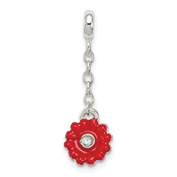 Sterling Silver Red Enameled Flower w/CZ 1/2in Dangle Enhancer