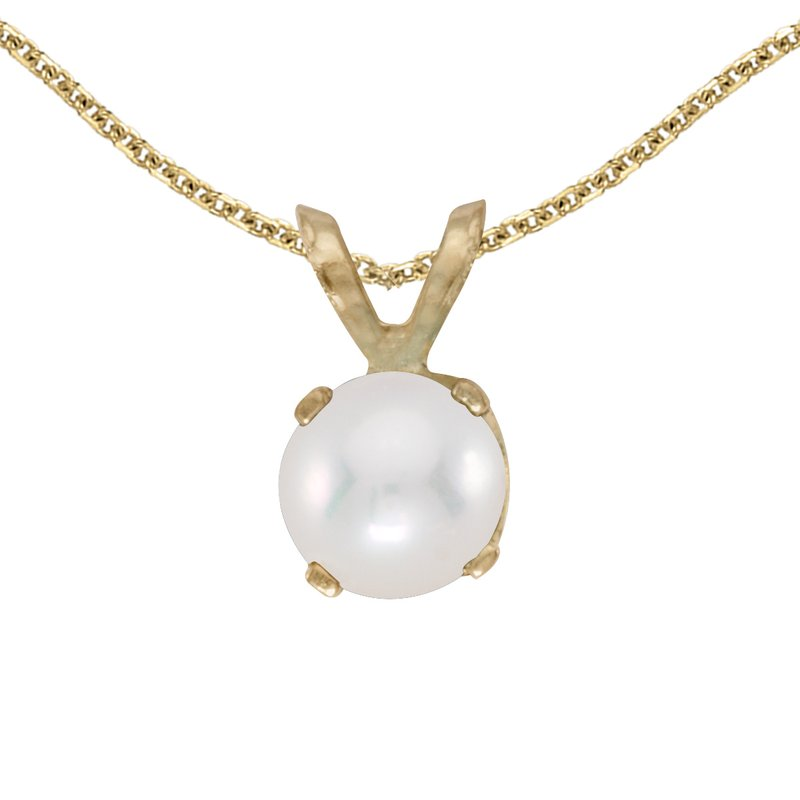 Color Merchants 14k Yellow Gold Freshwater Cultured Pearl Pendant