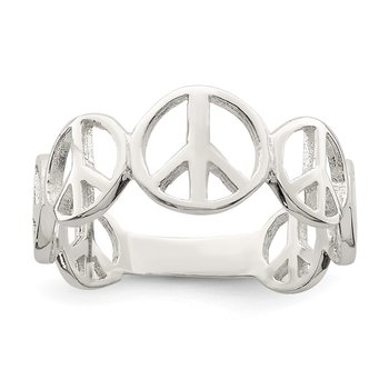 Sterling Silver Polished Peace Ring