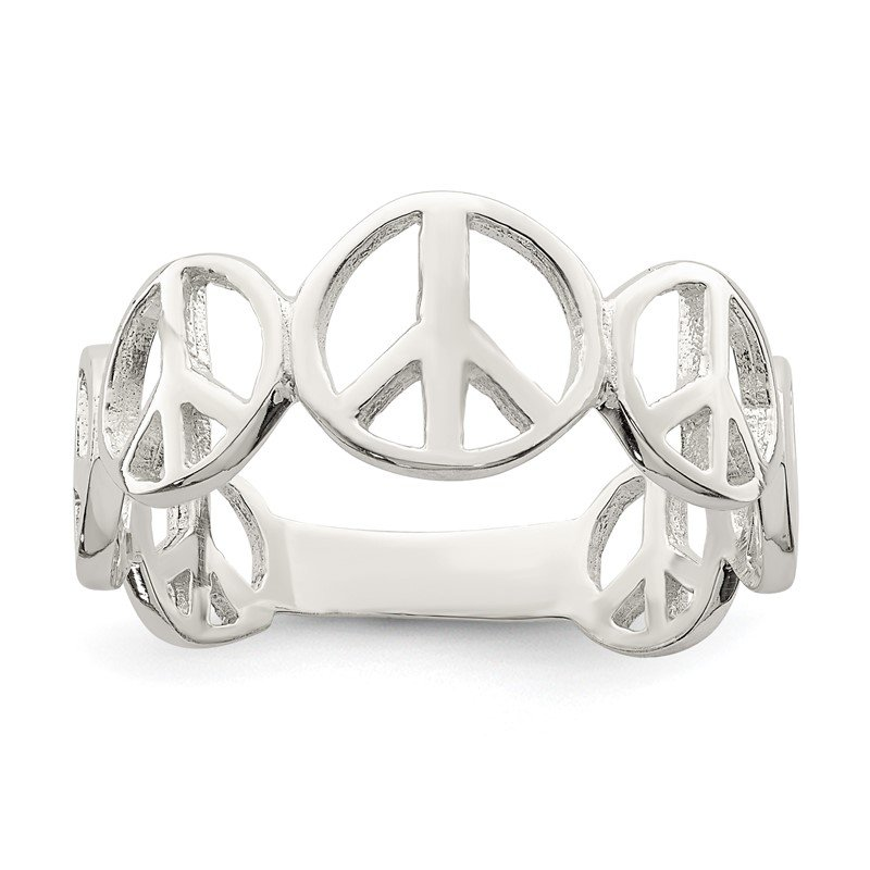 Quality Gold Sterling Silver Polished Peace Ring