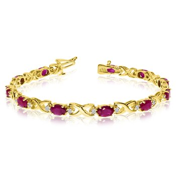 14k Yellow Gold Natural Ruby And Diamond Tennis Bracelet