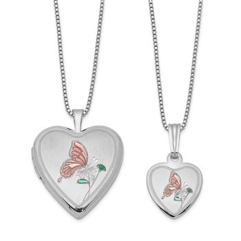 Sterling Silver RH-plated Polished & Satin Butterfly Heart Locket & Pendant