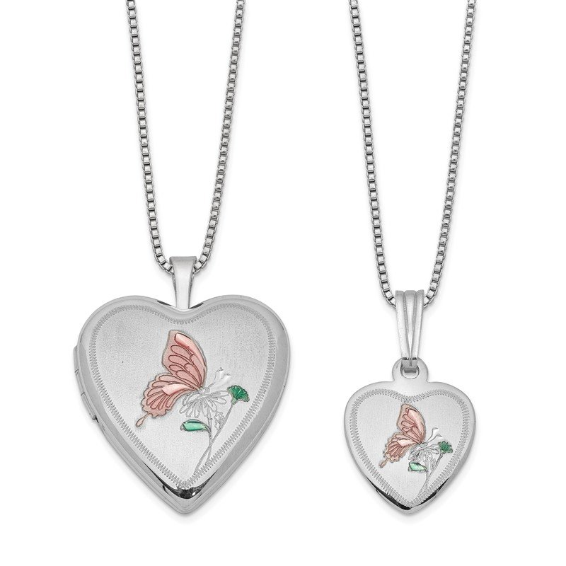 Quality Gold Sterling Silver RH-plated Pol/Satin Enamel Butterfly Heart Locket & Pendant