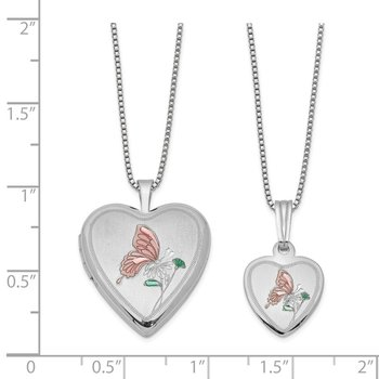 Sterling Silver RH-plated Pol/Satin Enamel Butterfly Heart Locket & Pendant