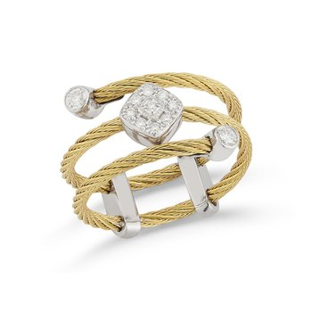 Yellow Cable Flex Ring with Diamond Shaped Diamond Station Set in 18kt White Gold