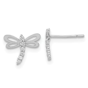 14k Madi K White Gold Polished CZ Dragonfly Post Earrings