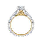 Carizza 14K Two-Tone Gold Round Diamond Engagement Ring with Split Shank (Semi-Mount)