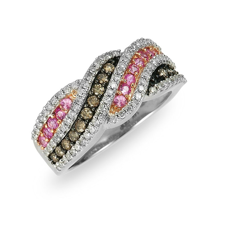 BB Impex 14K WG Champagne Diamond and Pink Sapphire Ring
