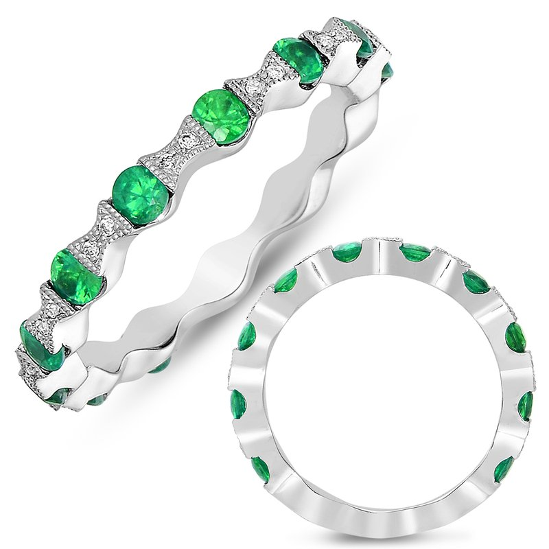 S. Kashi  & Sons White Gold Tsavorite & Diamond Band