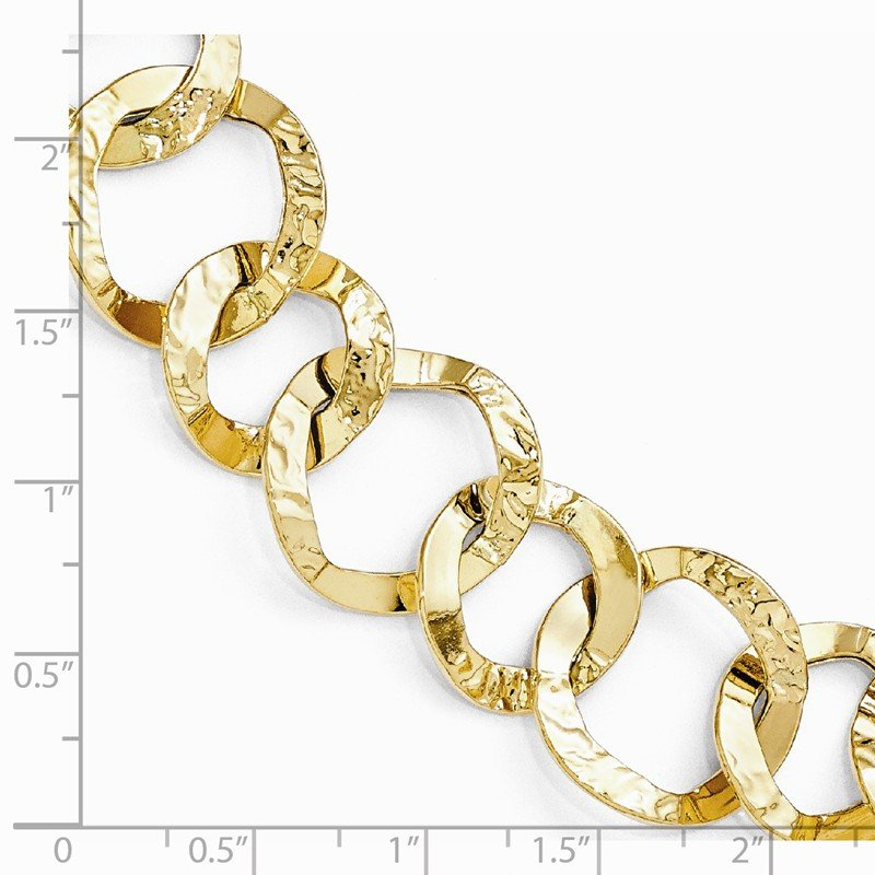 Leslie's Leslie's 14K Polished and Hammered Fancy Link Bracelet
