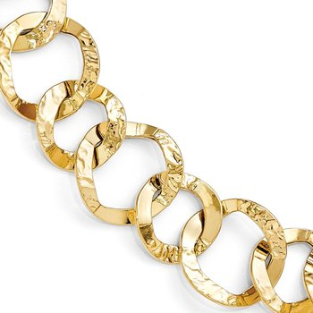 Leslie's 14K Polished and Hammered Fancy Link Bracelet