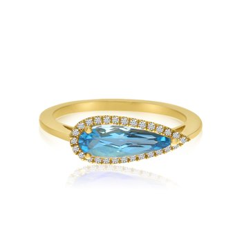 14K Yellow Gold Elongated Pear-Shaped Blue Topaz and Diamond Ring