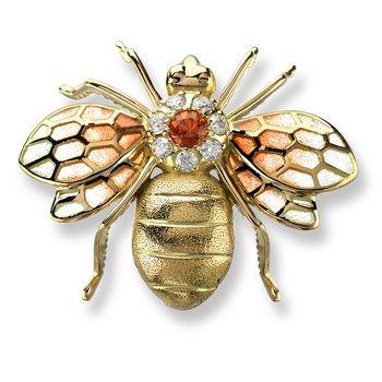 Orange Bee Brooch.18K -Diamonds and Orange Sapphires - Plique-a-Jour