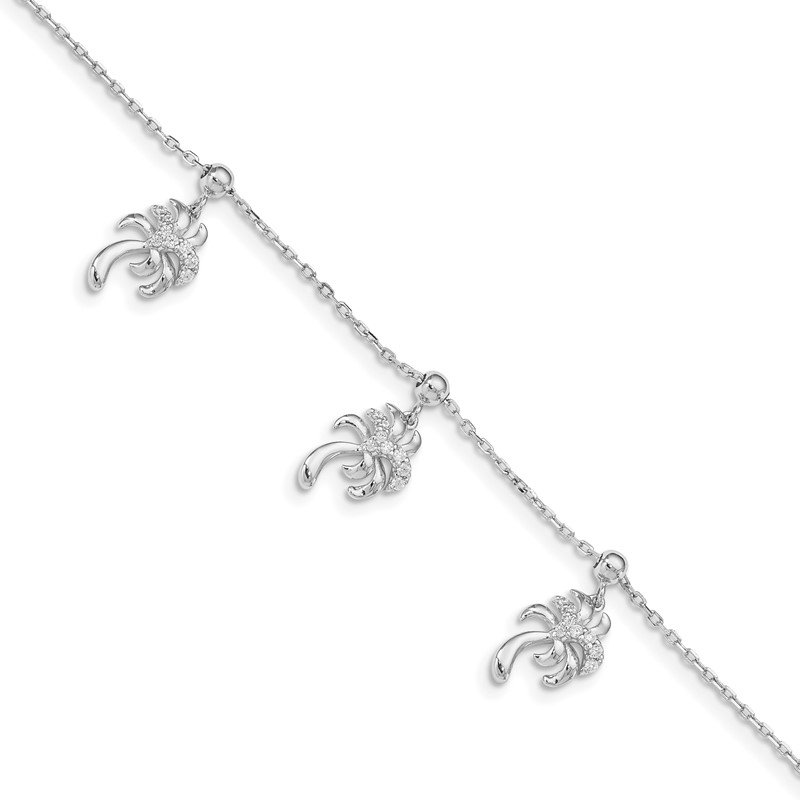Quality Gold Sterling Silver Rhodium-plated CZ Palm Tree Dangle 6.5 in w/1IN Ext Bracele