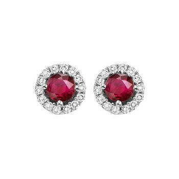 Round Ruby & Diamond Halo Stud Earrings in 14K White Gold (1/7 ct. tw.)