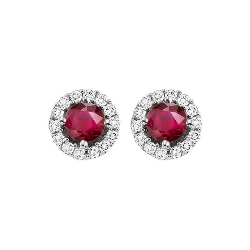 Gems One Round Ruby & Diamond Halo Stud Earrings in 14K White Gold (1/7 ct. tw.)