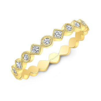 Yellow Gold Alternating Round And Diamond Shape Stackable Band
