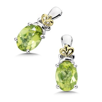 Sterling Silver, 18K Gold and Peridot Earrings