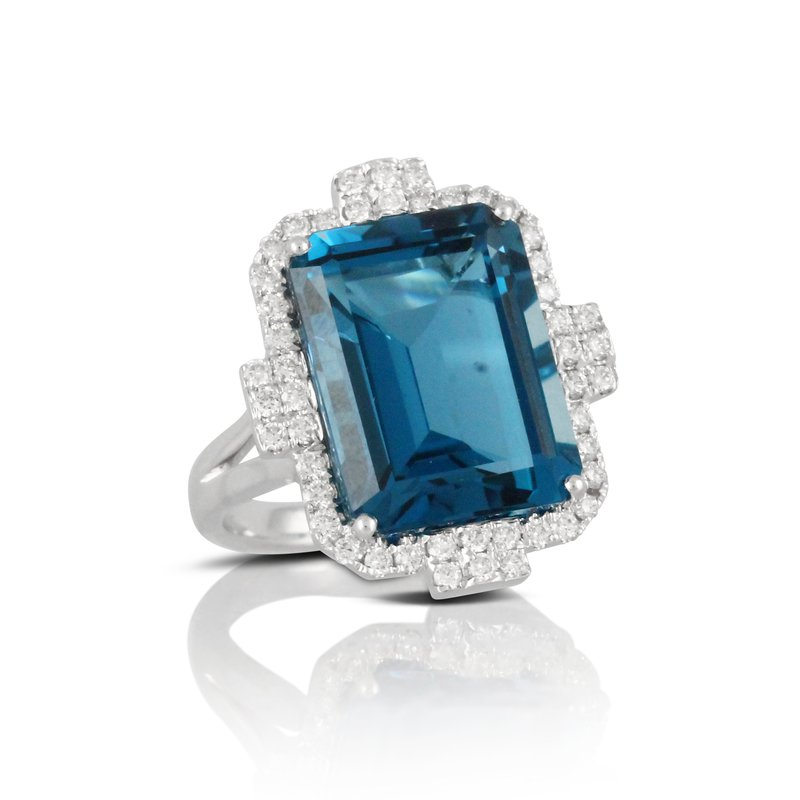 MAZZARESE Couture London Blue Topaz & Diamond Halo Ring