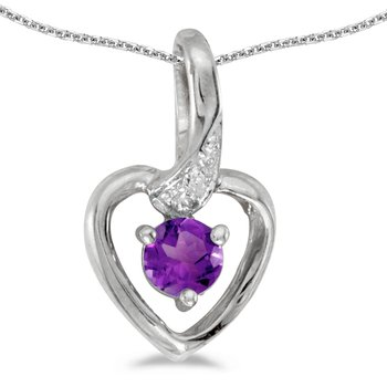 14k White Gold Round Amethyst And Diamond Heart Pendant