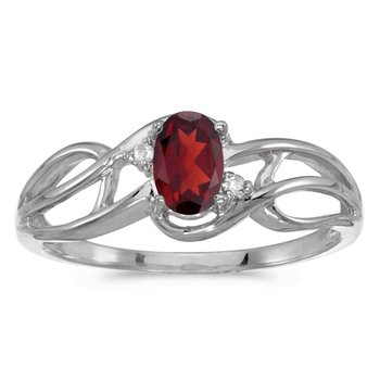 10k White Gold Oval Garnet And Diamond Curve Ring