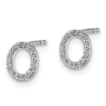 14k White Gold Diamond Initial O Earrings