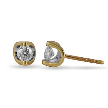 14K YG Diamond Moonshine Stud Earrings in 0.40 Cts