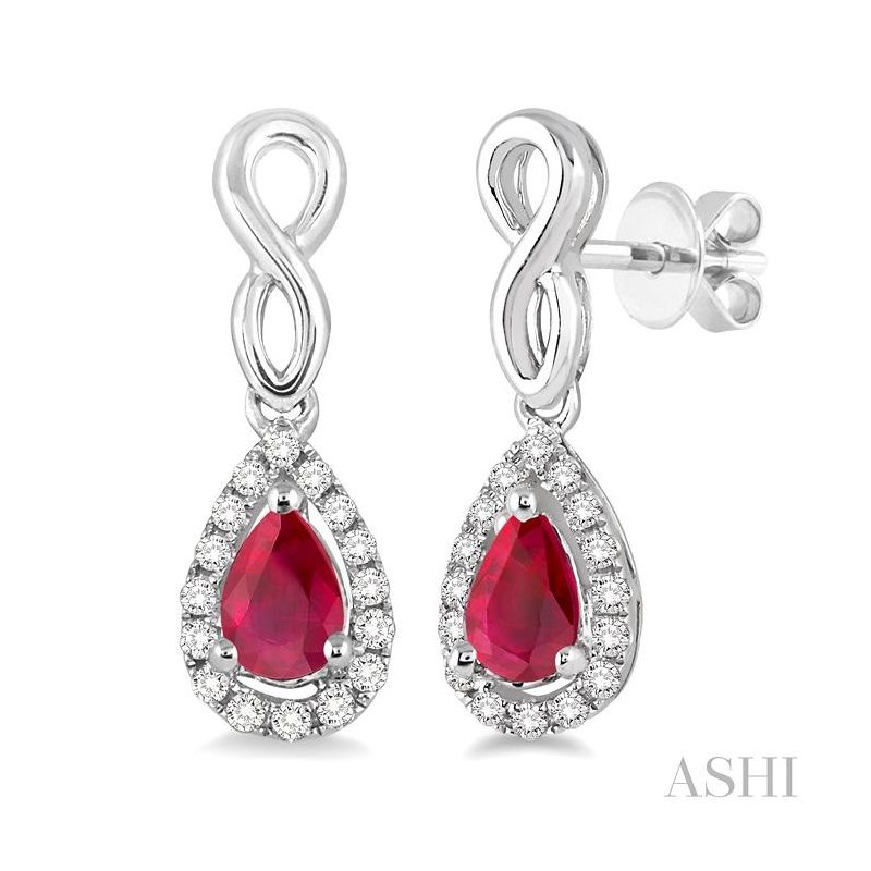 ASHI pear shape gemstone & diamond earrings
