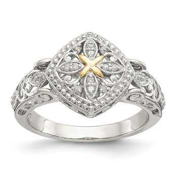 Sterling Silver w/14ky Diamond Ring
