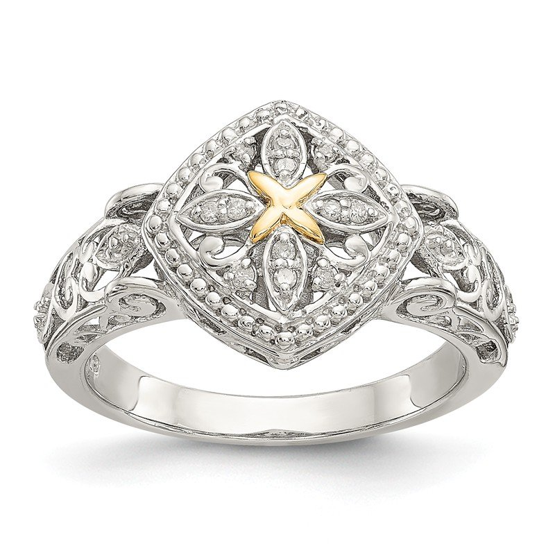 Shey Couture Sterling Silver w/14ky Diamond Ring