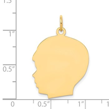 14k Plain Large .035 Gauge Facing Left Engravable Boy Head Charm