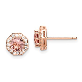 Sterling Silver Post Rose-tone Round Pink Crystal Halo Earrings