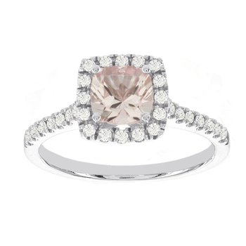 14kT White Gold 1ct Morganite Center, 1/3ct Diamond Halo Engagement Ring