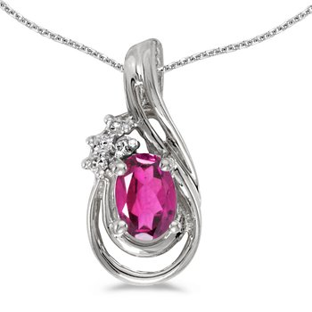 10k White Gold Oval Pink Topaz And Diamond Teardrop Pendant