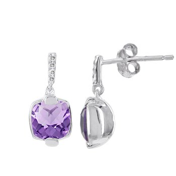 Sterling Silver Amethyst and Diamond Accent Earrings