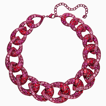 Tabloid Necklace, Multi-colored, Pink lacquer plating