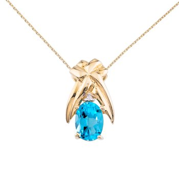 14k Yellow Gold 7x5 mm Blue Topaz and Diamond Oval Shaped Pendant
