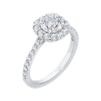 Carizza Round Diamond Halo Engagement Ring In 14K White Gold (Semi-Mount)
