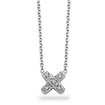 "Diamond "" X "" Necklace in 14k White Gold with 5 Diamonds weighing.03ct tw."