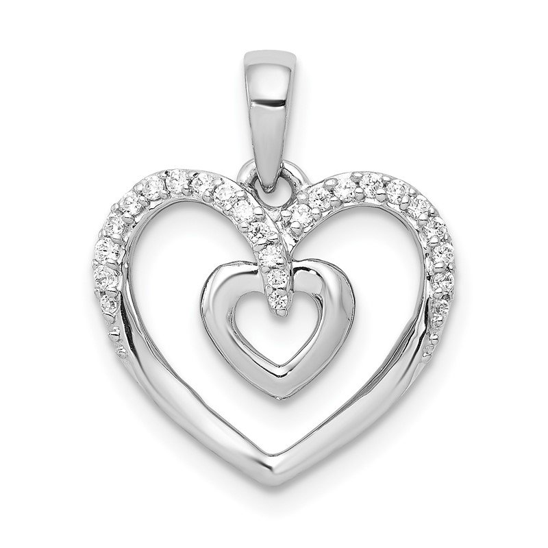 Quality Gold 14k White Gold 1/10ct. Diamond Double Heart Pendant