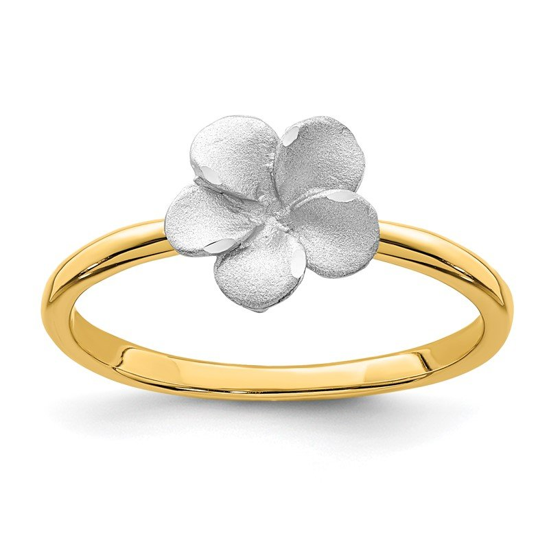 Quality Gold 14K Two-tone Brushed & Polished Plumeria Ring