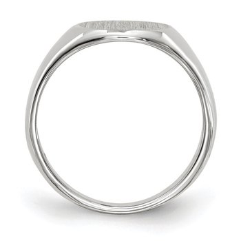 14k White Gold 8.5x8.0mm Closed Back Child's Signet Ring