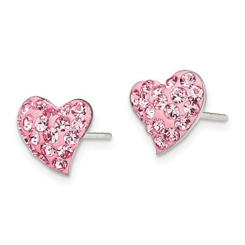 Sterling Silver Pink Preciosa Crystal Heart Post Earrings