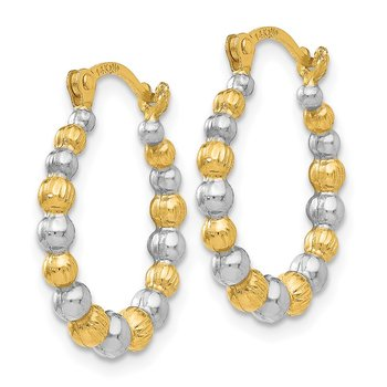 14K & Rhodium Beaded Hoop Earrings